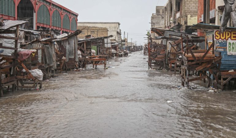 The rains from Hurricane Matthew cover this street in Port-au-Prince, the capital of Haiti, as the category four hurricane swept over the country on Oct. 4.  The Category 4 hurricane made landfall in southwest Haiti early in the morning causing significant damage there. The total amount of damage in the country is currently unknown.  MCC is prepared to respond when the hurricane is over. (MCC photo/Paul Shetler Fast)
