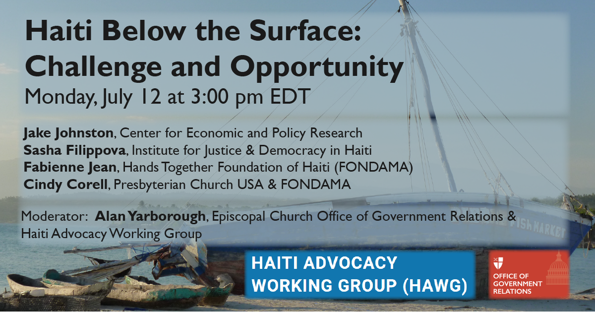 Wooden boat on a Haiti beach with the title, panelists, and time overlaid